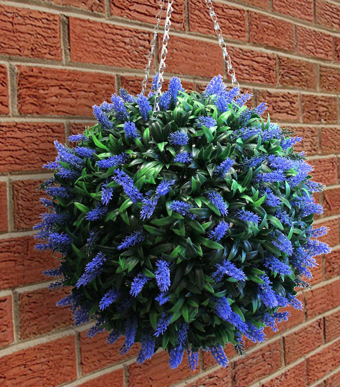 Ordinary Artificial Topiary Balls Part - 11: 40cm Blue Lavendar Topiary Ball