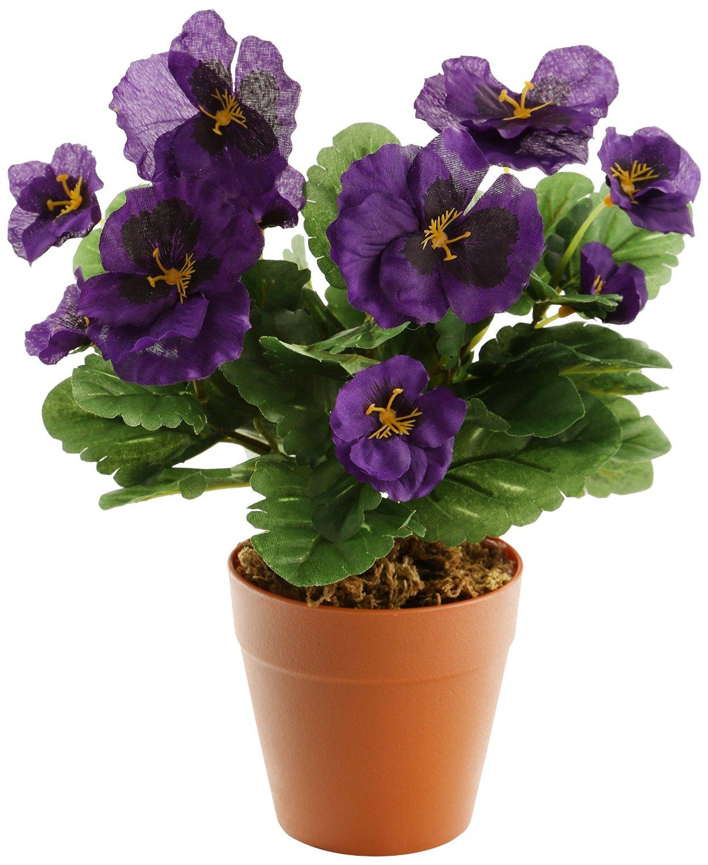 Realistic Artificial Purple Pansy Plug Plant 30cm The