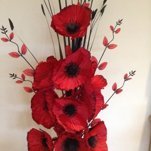Artificial poppies flower arrangement