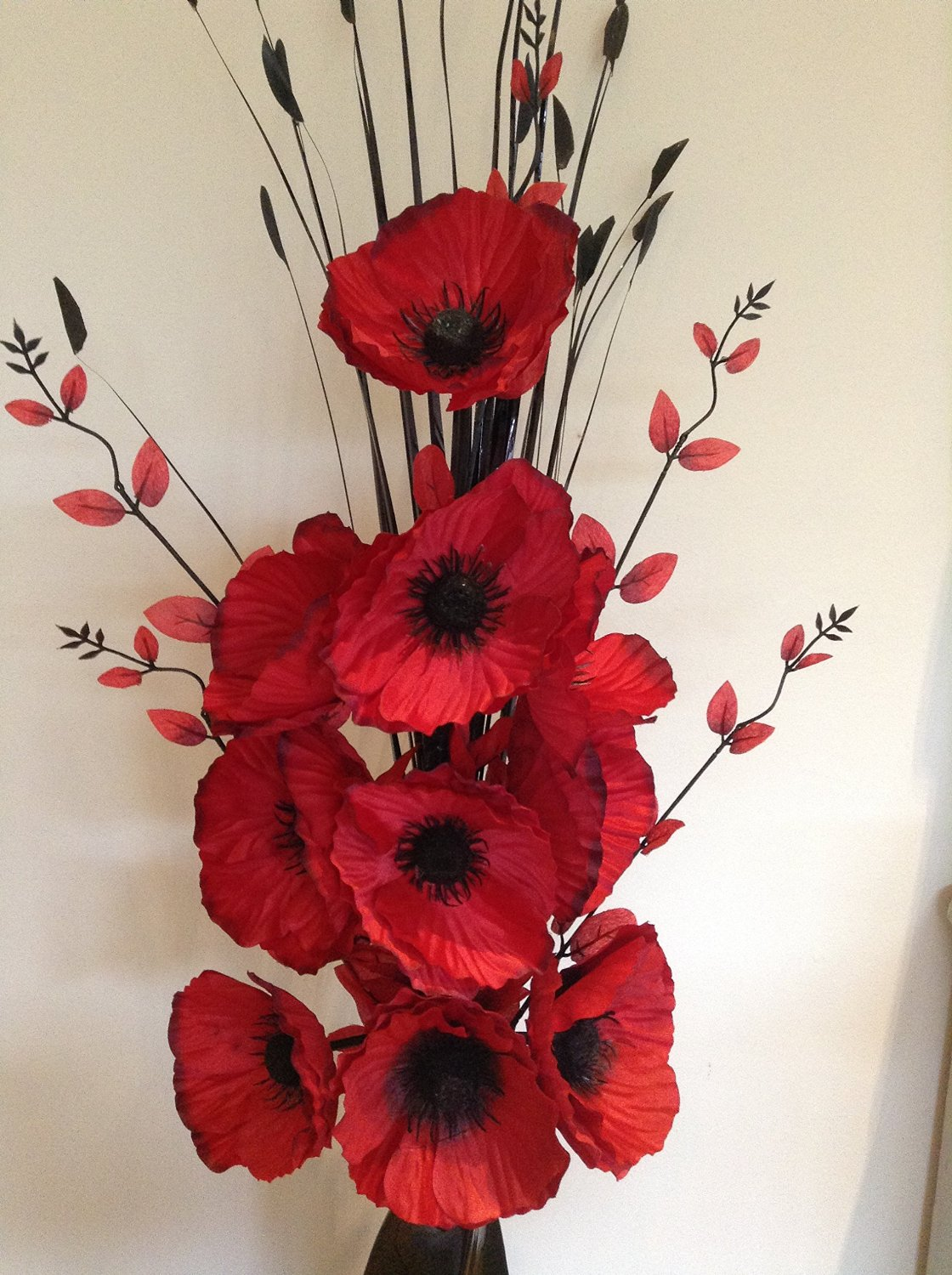Beautiful red artificial poppies flower arrangement with vase the artificial poppies flower arrangement mightylinksfo