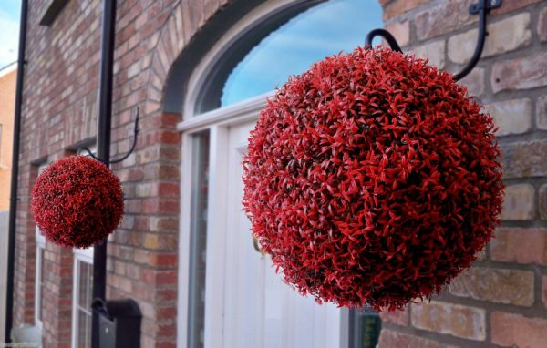 Red rosemary artificial hanging topiary ball