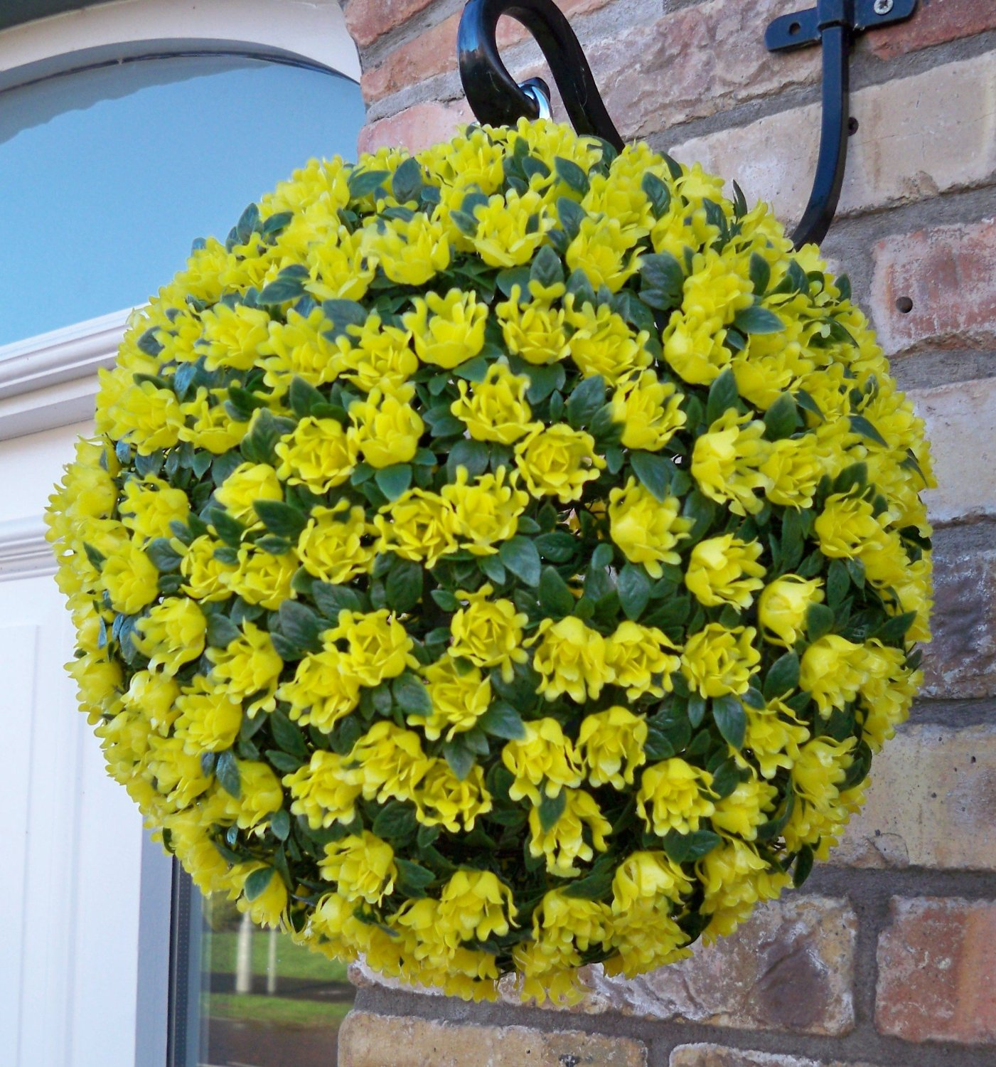 Single Artificial 28cm Yellow Rose Topiary Ball The Artificial Flowers Company