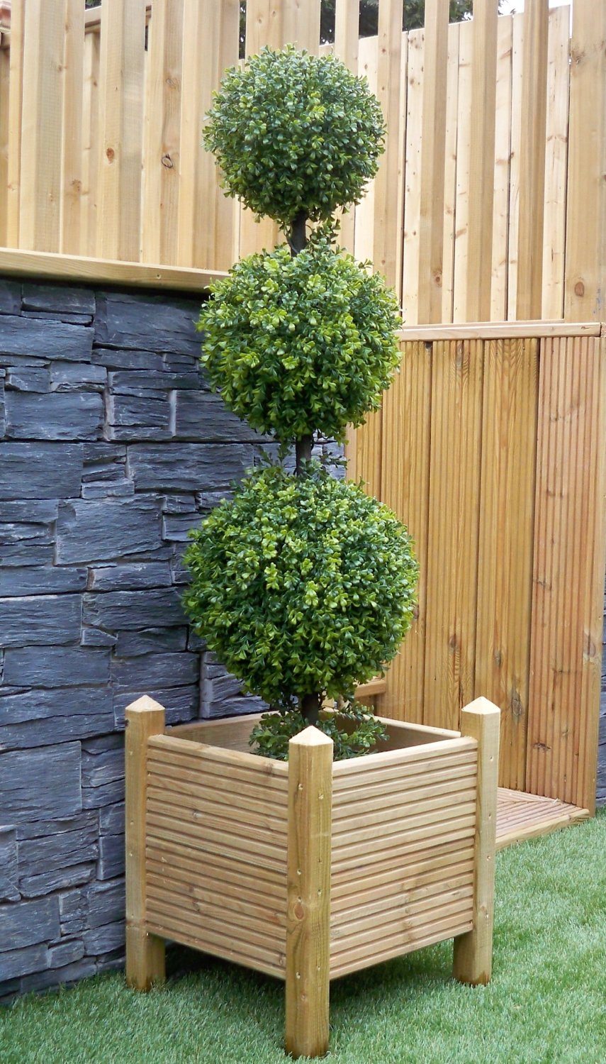 Pair Of Triple Ball Boxwood Buxus Topiary Trees 120cm