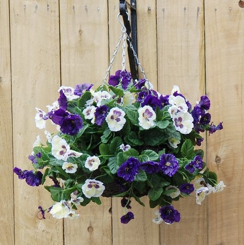 Blue and white artificial hanging basket