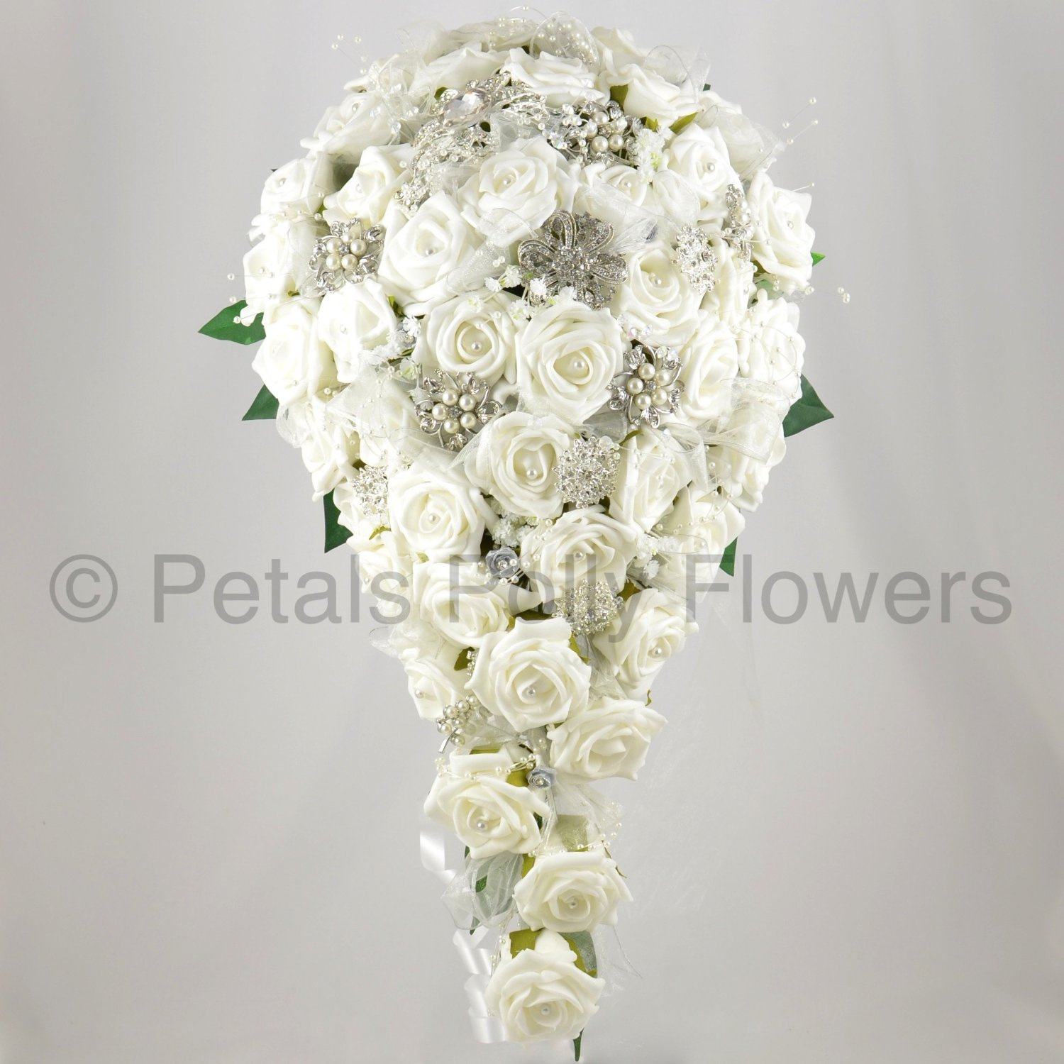 Artificial wedding flowers the artificial flowers company handmade artificial flowers brides teardrop bouquet with diamante brooches izmirmasajfo Image collections