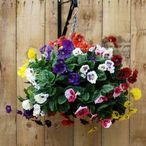 Artificial pansies hanging basket