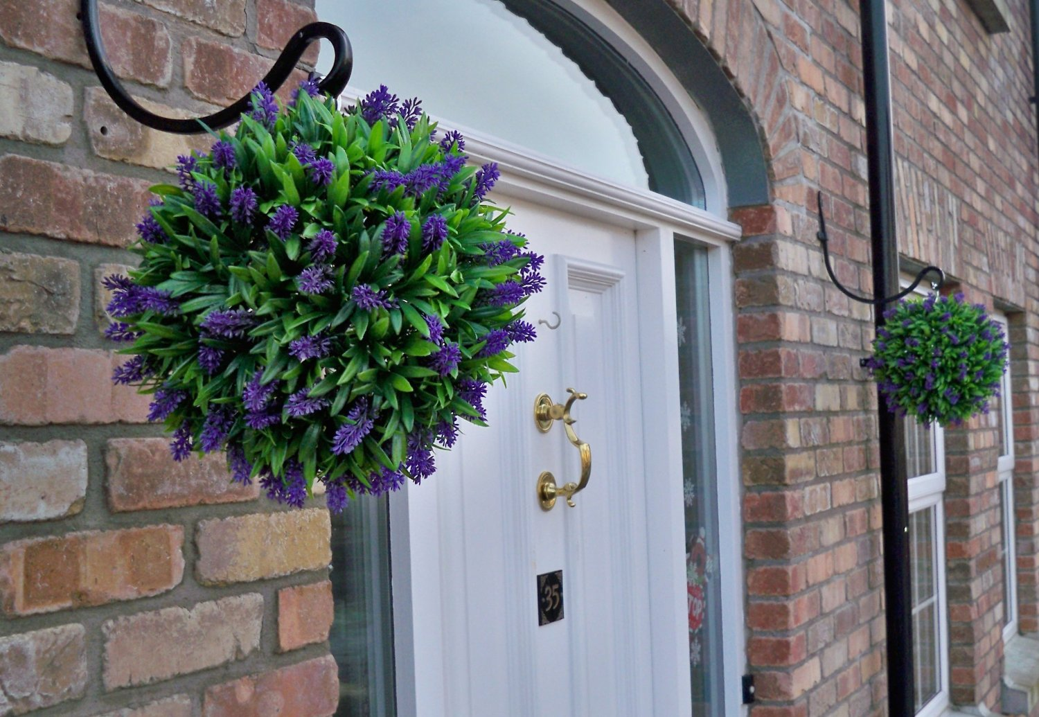 Pair Of Artificial Purple Lush Lavender Topiary Balls 30cm The Artificial Flowers Company