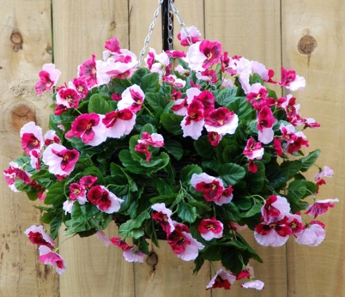Pink pansy artificial hanging basket