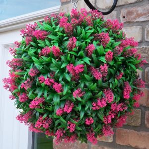 Artificial pink topiary ball