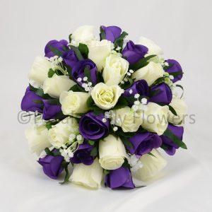 Purple and cream wedding flowers