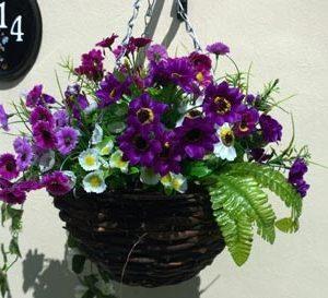 Purple foliage artificial hanging basket