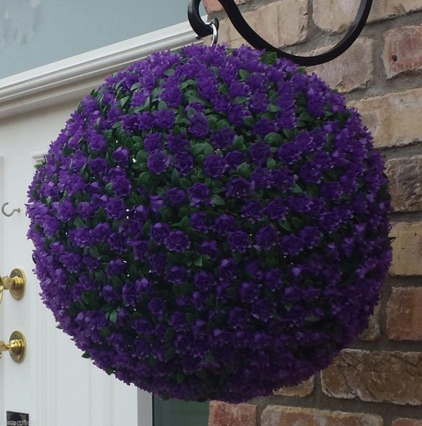 Purple rose hanging topiary ball