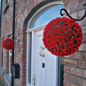Red topiary ball