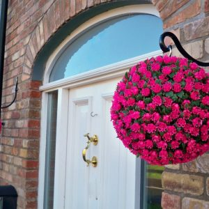2 Artificial 28cm Pink Rose Topiary Hanging Flower Balls