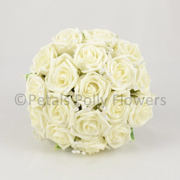 Artificial ivory roses wedding bouquet