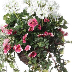 Pink Cyclamen White Geranium artificial hanging basket