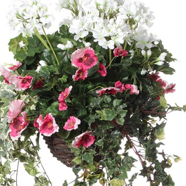 Pink Cyclamen White Geranium artificial hanging basket