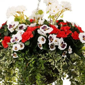 Pansy, Azalea and Geranium Hanging Basket (Artificial)