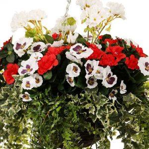 Pansy, Azalea and Geranium Hanging Basket (Artificial)