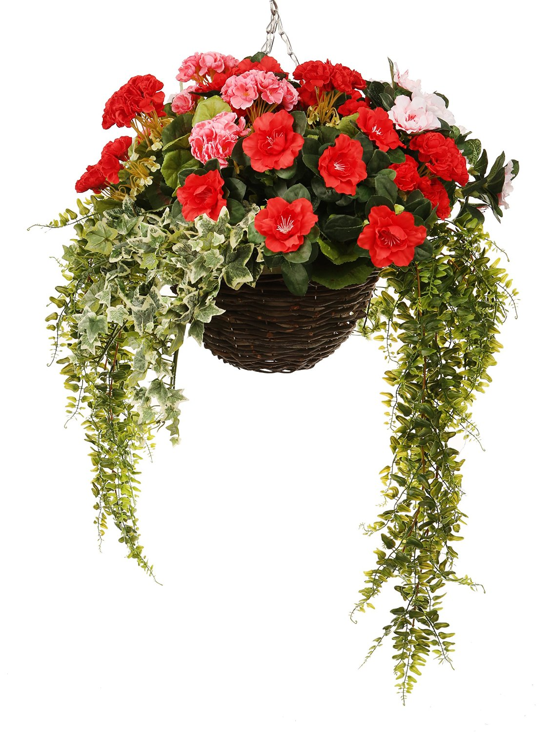 artificial hanging basket with azaleas, geraniums, vines and ivy