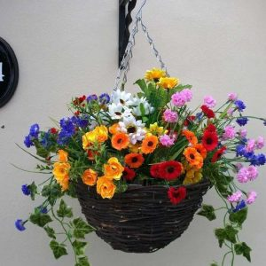 Wild flower artificial hanging basket