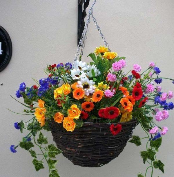 Wild flower artificial hanging basket
