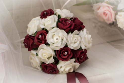 Burgundy and ivory rose wedding bouquet