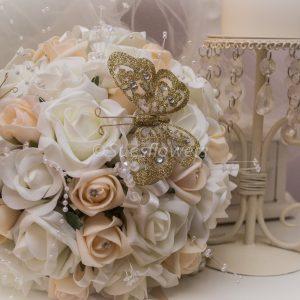 Bride's bouquet roses crystals butterflies