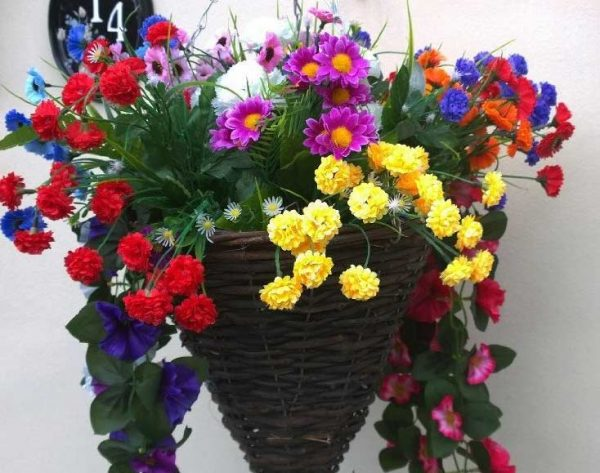 Cone artificial hanging basket with colourful flowers