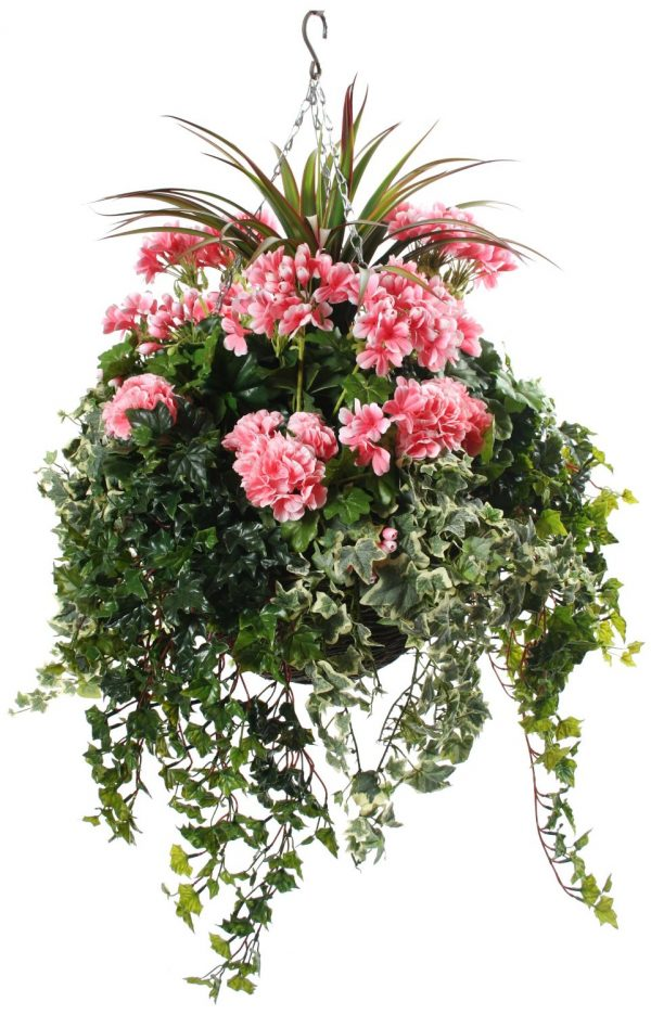 Pink Geranium artificial hanging basket
