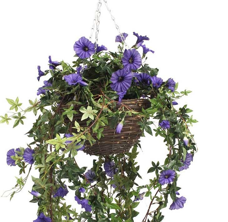 Artificial Hanging Basket With Morning Glory Flowers The