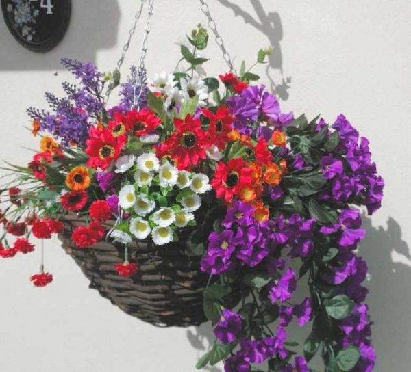 Purple white and red artificial hanging basket