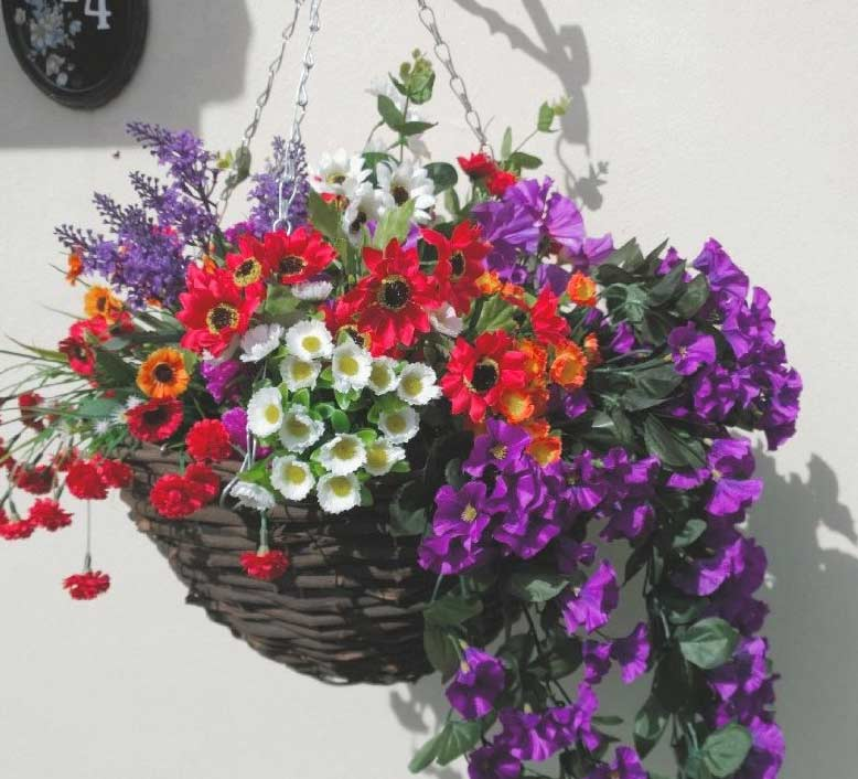 Large Colourful Artificial Hanging Basket With Purple And