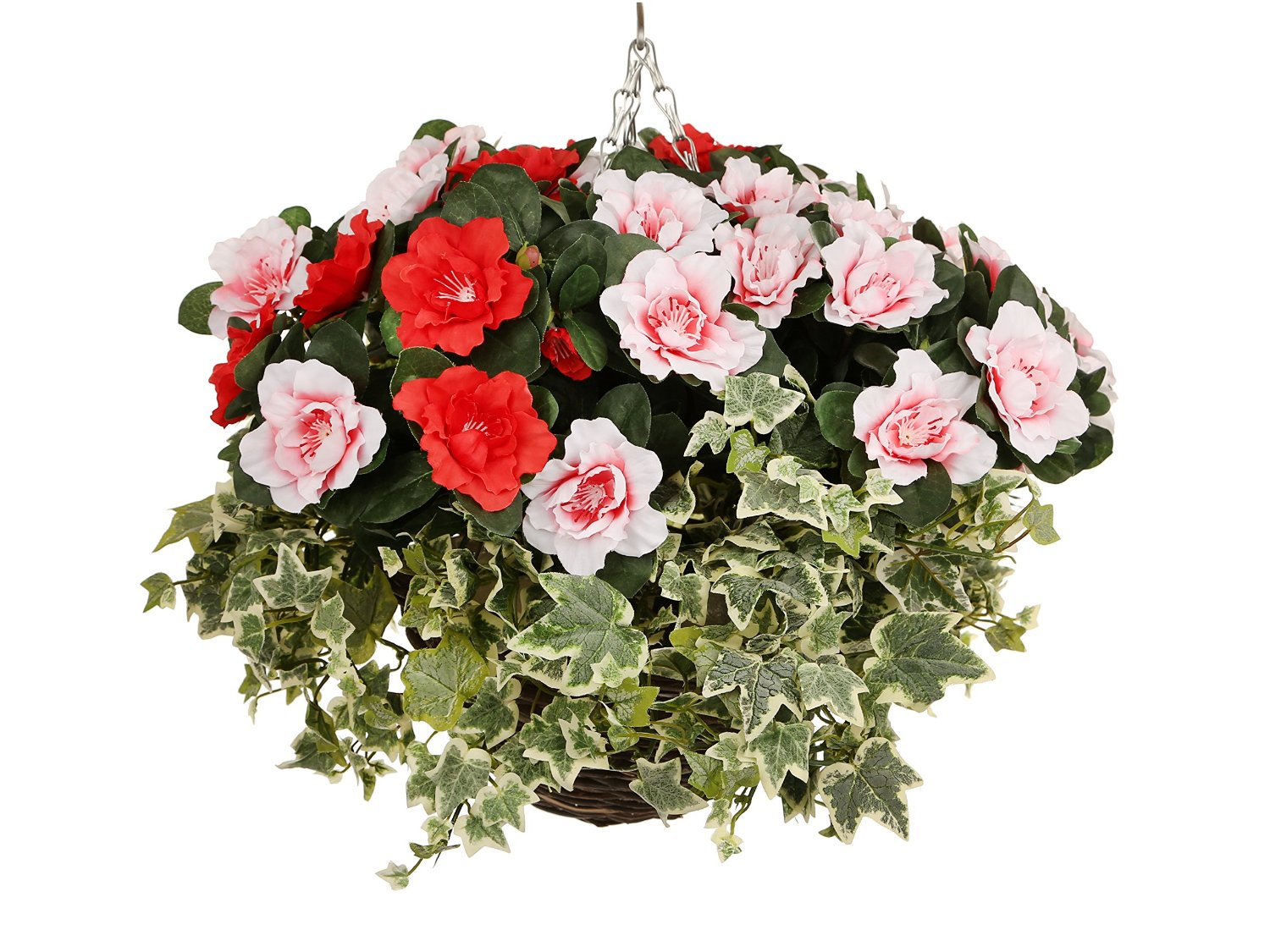 Pretty Artificial Pink And Red Azalea Hanging Basket The