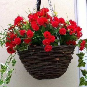 Red artificial hanging basket
