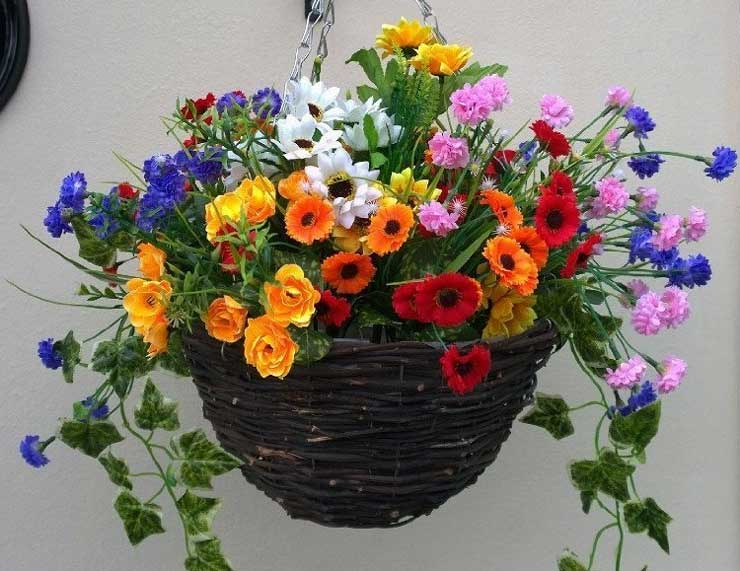 Artificial hanging basket with wild flowers