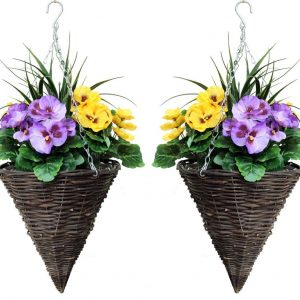 Artificial cone hanging baskets