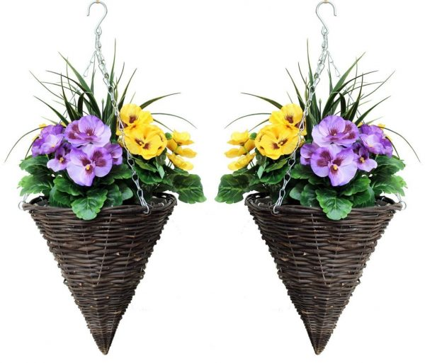 Artificial cone hanging baskets