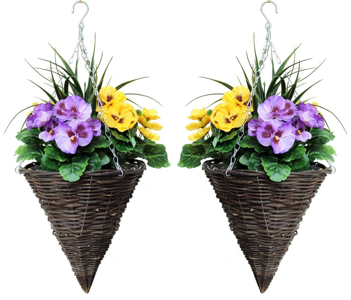 pair of cone shaped artificial flower hanging baskets. Black Bedroom Furniture Sets. Home Design Ideas