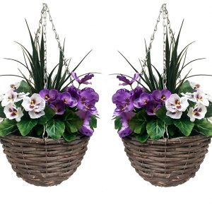 Artificial hanging basket pair