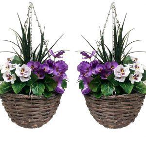 Artificial hanging basket pair
