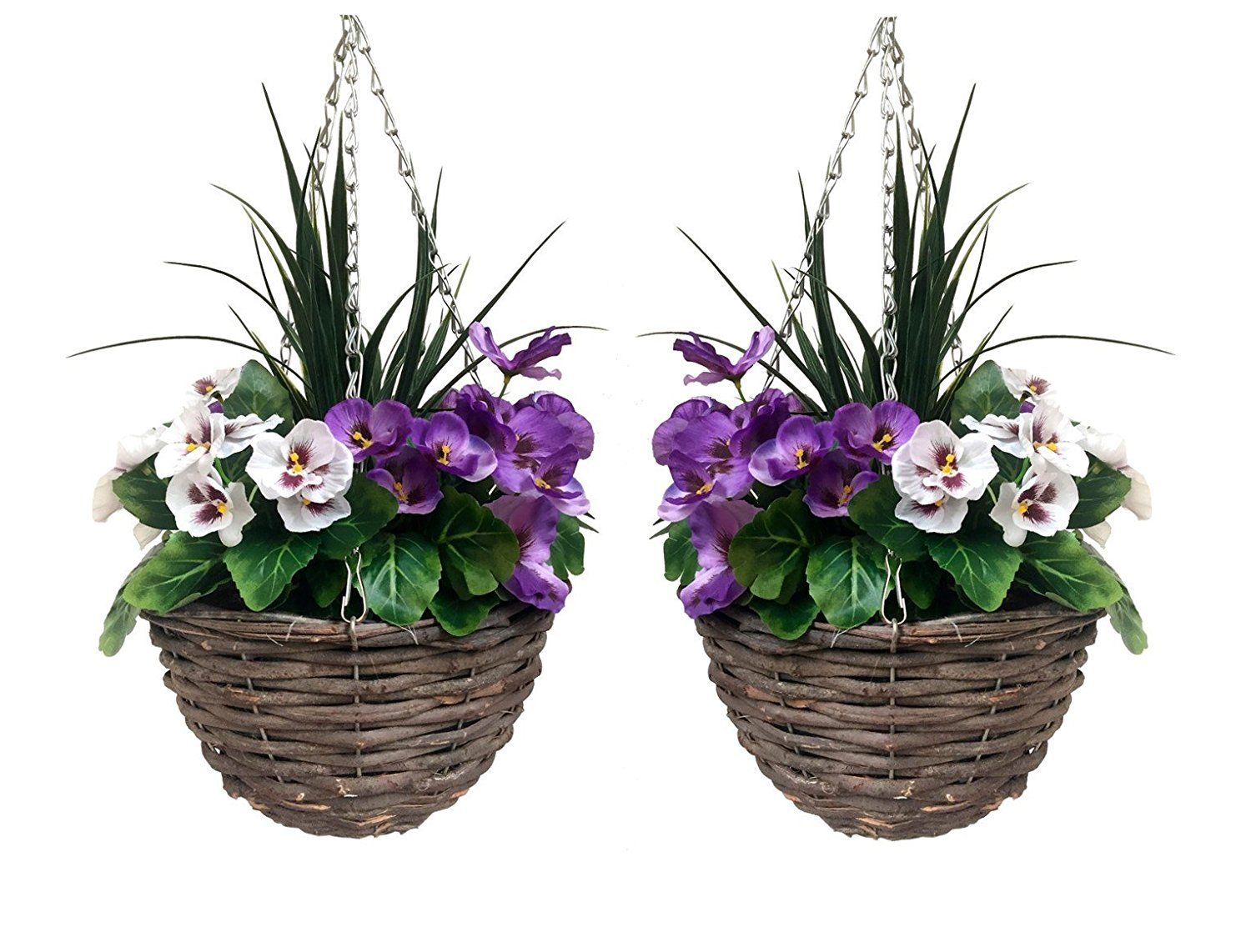 Pair Of Artificial Hanging Baskets Purple White