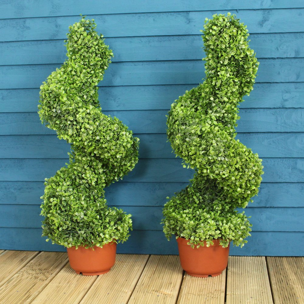 pair of artificial swirl topiary trees 80cm the. Black Bedroom Furniture Sets. Home Design Ideas