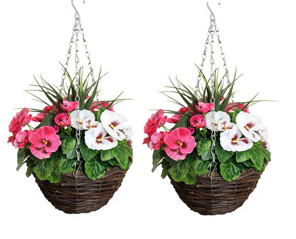 Pink and white hanging basket