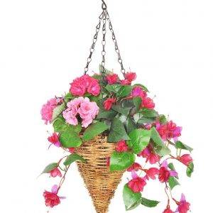 Artificial hanging basket with trailing fuscias