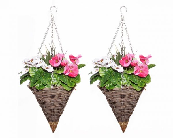 Pink and white cone shaped hanging baskets