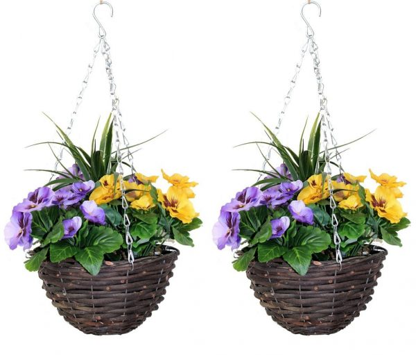 Pair of artificial hanging baskets with yellow and purple flowers