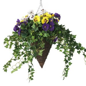 Purple and yellow floral hanging basket