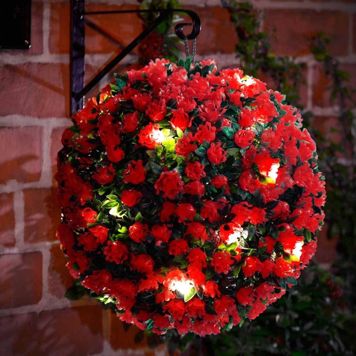 40cm Topiary Balls Part - 35: 28cm Red Rose Solar Powered Topiary Ball With 20 LED Lights - Dual Function