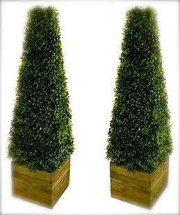 pair of artificial pyramid topiary trees with wooden box stands Artificial Topiary Trees